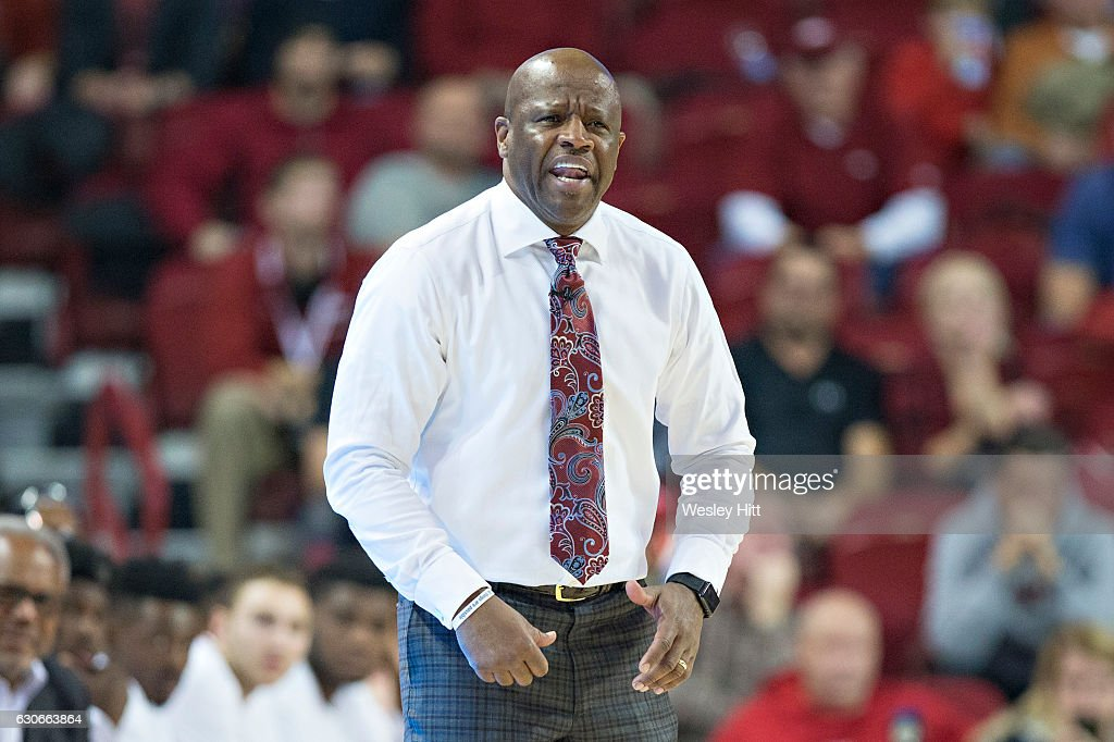 Head Coach Mike Anderson of the Arkansas Razorbacks yells at his team during a game against the Florida Gators at Bud Walton Arena on December 29, 2016 in Fayetteville, Arkansas. The Gators defeated the Razorbacks 81-72.