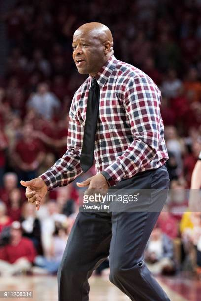 Head Coach Mike Anderson of the Arkansas Razorbacks yells at his team during a game against the Oklahoma State Cowboys at Bud Walton Arena on January...