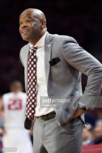 Head Coach Mike Anderson of the Arkansas Razorbacks yells to his players during a game against the Mississippi Rebels at Bud Walton Arena on January...