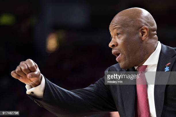 Head Coach Mike Anderson of the Arkansas Razorbacks yells to his team during a game against the Vanderbilt Commodores at Bud Walton Arena on February...
