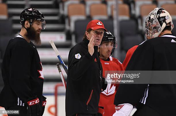 Head Coach Mike Babcock gives instructions to Carey Price of Team Canada during the World Cup of Hockey 2016 practice sessions at Air Canada Centre...