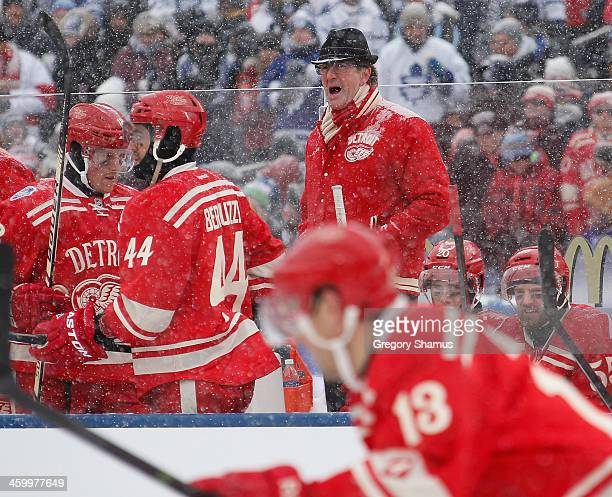 Head coach Mike Babcock of the Detroit Red Wings barks out instructions during the first period against the Toronto Maple Leafs in the 2014...