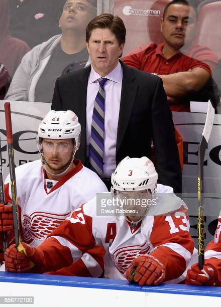 Head Coach Mike Babcock of the Detroit Red Wings looks on from the bench with players Tomas Tatar and Pavel Datsyuk during a game against the Florida...