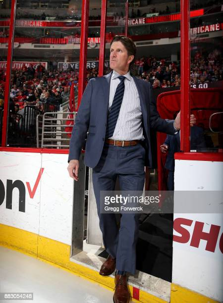 Head Coach Mike Babcock of the Toronto Maple Leafs enters the ice prior to an NHL game against the Carolina Hurricanes on November 24 2017 at PNC...