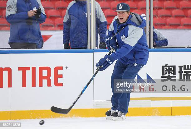 Head coach Mike Babcock of the Toronto Maple Leafs holds practice a day ahead of the 2017 Scotiabank NHL Centenial Classic at BMO Field on December...