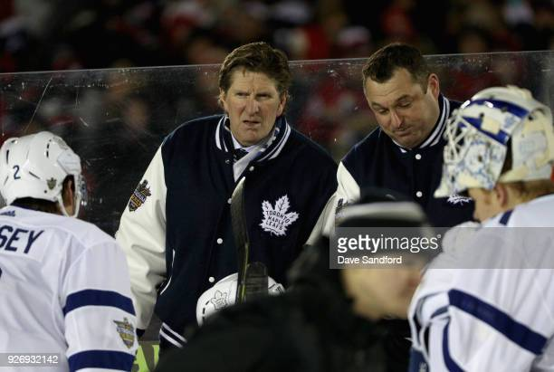 Head coach Mike Babcock of the Toronto Maple Leafs looks on during the first period of the 2018 Coors Light NHL Stadium Series against the Washington...