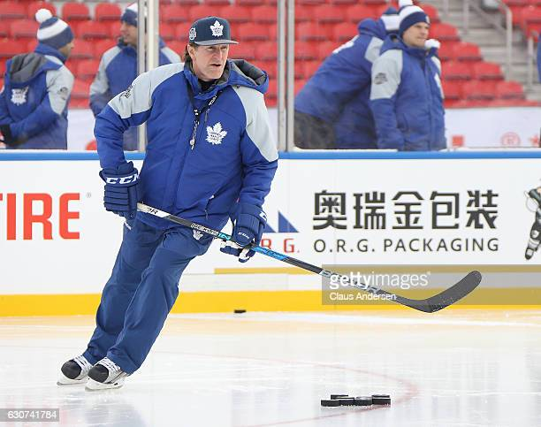 Head coach Mike Babcock of the Toronto Maple Leafs runs practice a day ahead of the 2017 Scotiabank NHL Centenial Classic at BMO Field on December 31...