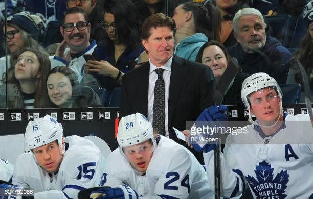 Head Coach Mike Babcock of the Toronto Maple Leafs watches the action during the second period of an NHL game against the Buffalo Sabres on March 5...