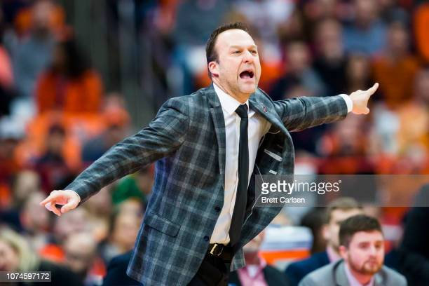 Head coach Mike Balado of the Arkansas State Red Wolves reacts to game action during the first half against the Syracuse Orange at the Carrier Dome...