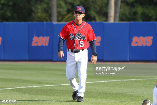Head Coach Mike Bianco walks back to the dugout before the college baseball game between the Ole Miss Rebels and the Florida Gators on May 05 2017 at...