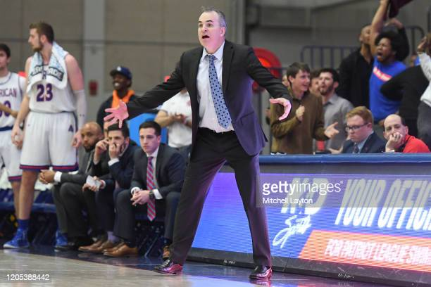 Head coach Mike Brennan of the American Eagles reacts to a call in the second half during a Patriot League Quarterfinal Basketball Tournament college...