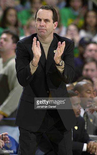 Head coach Mike Brey of Notre Dame encourages his team during the game against Pittsburgh at Joyce Center at the University of Notre Dame on February...