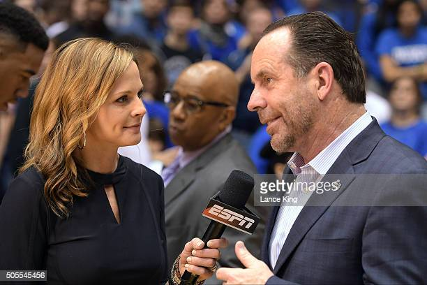 Head coach Mike Brey of the Notre Dame Fighting Irish is interviewed by ESPN reporter Shannon Spake following the game against the Duke Blue Devils...
