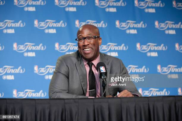 Head Coach Mike Brown of the Golden State Warriors speaks to the media after Game One of the 2017 NBA Finals on June 1 2017 at ORACLE Arena in...
