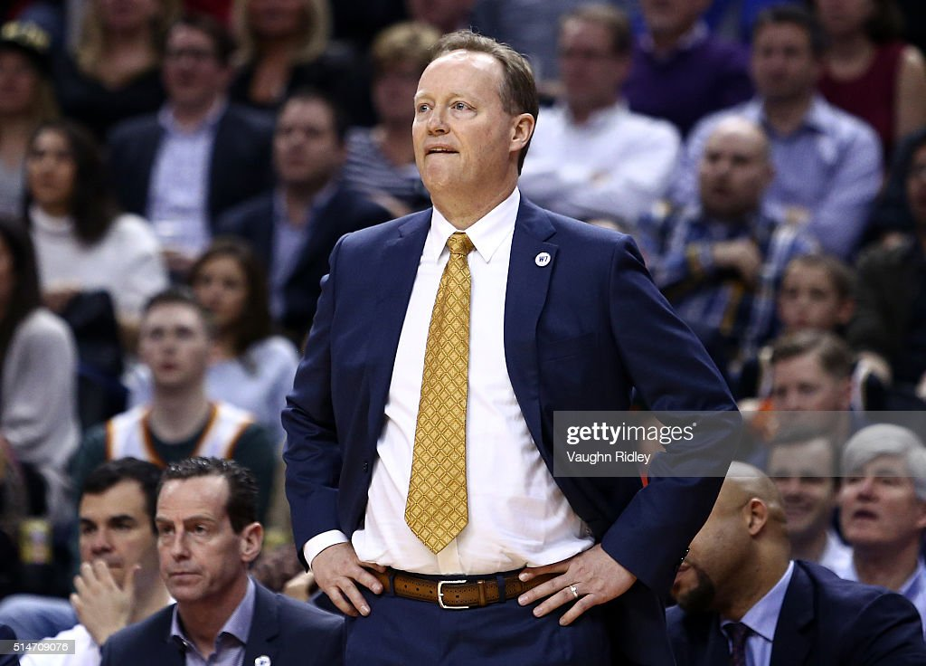Head coach Mike Budenholzer of the Atlanta Hawks looks on during the first half of an NBA game against the Toronto Raptors at the Air Canada Centre on March 10, 2016 in Toronto, Ontario, Canada.
