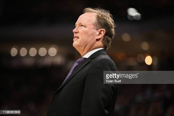 Head coach Mike Budenholzer of the Milwaukee Bucks looks on in the second quarter against the Cleveland Cavaliers at the Fiserv Forum on March 24...
