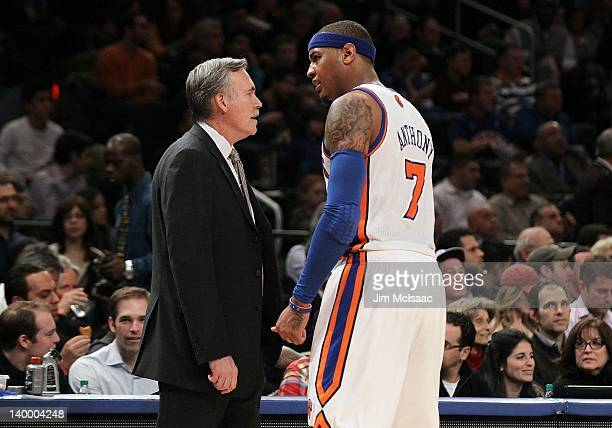 Head coach Mike D'Antoni and Carmelo Anthony of the New York Knicks in action against the New Jersey Nets on February 20 2012 at Madison Square...