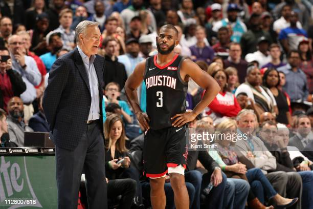 Head Coach Mike D'Antoni and Chris Paul of the Houston Rockets talk during a game against the Charlotte Hornets on February 27 2019 at Spectrum...