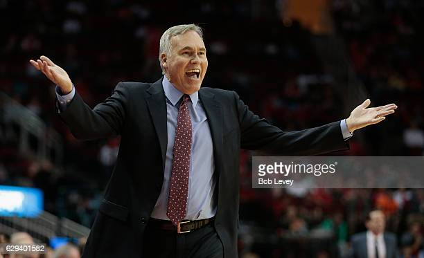 Head coach Mike D'Antoni of the Houston Rockets argues with referees after a blocking call was called onsa Trevor Ariza of the Houston Rockets at...