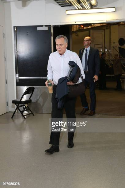 Head Coach Mike D'Antoni of the Houston Rockets arrives before the game against the Minnesota Timberwolves on February 13 2018 at Target Center in...