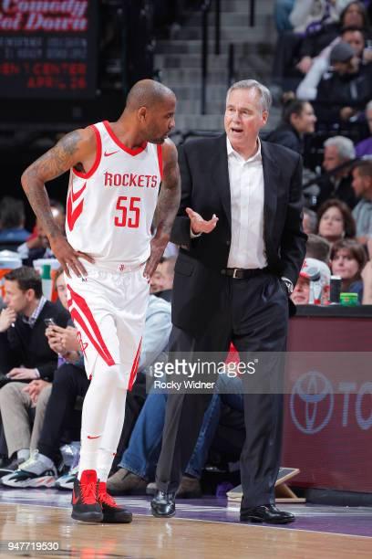 Head coach Mike D'Antoni of the Houston Rockets coaches Aaron Jackson against the Sacramento Kings on April 11 2018 at Golden 1 Center in Sacramento...