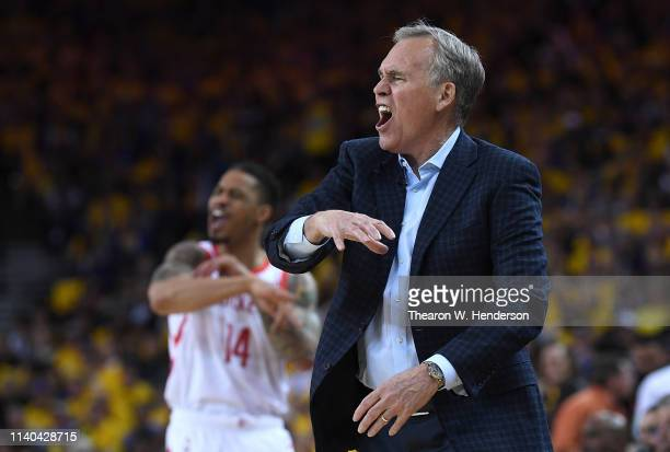 Head coach Mike D'Antoni of the Houston Rockets complains of a no call by the referees against the Golden State Warriors in Game Two of the Second...