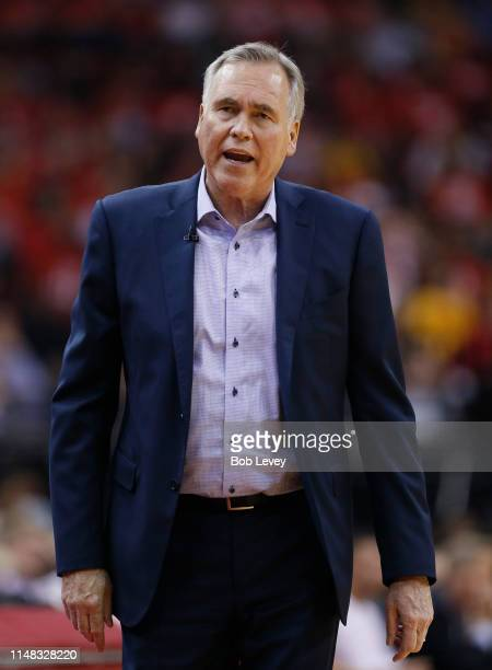 Head coach Mike D'Antoni of the Houston Rockets gestures during Game Six of the Western Conference Semifinals of the 2019 NBA Playoffs at Toyota...
