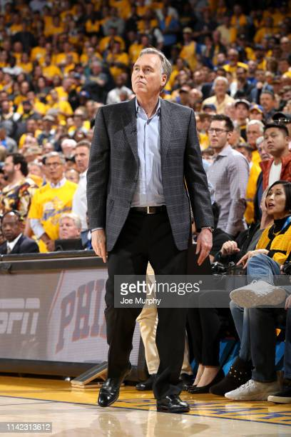 Head Coach Mike D'Antoni of the Houston Rockets looks on against the Golden State Warriors during Game Five of the Western Conference Semifinals of...
