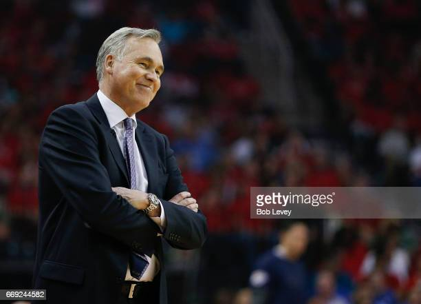 Head coach Mike D'Antoni of the Houston Rockets looks on during Game One of the first round of the Western Conference 2017 NBA Playoffs at Toyota...