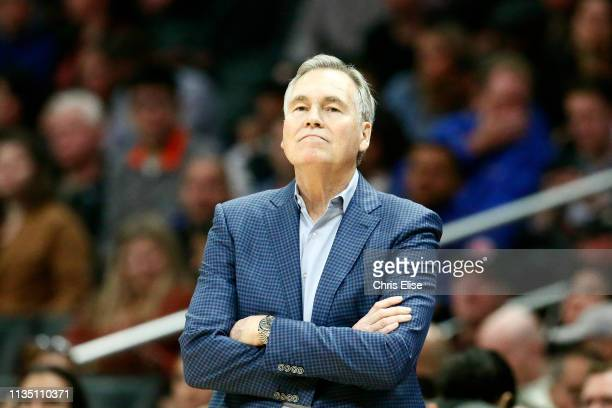 Head Coach Mike D'Antoni of the Houston Rockets looks on during the game against the LA Clippers on April 3 2019 at STAPLES Center in Los Angeles...
