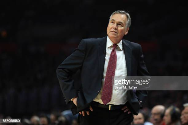 Head coach Mike D'Antoni of the Houston Rockets looks on during the second half of a game against the LA Clippers at Staples Center on April 10 2017...
