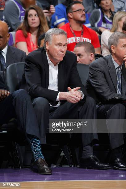 Head coach Mike D'Antoni of the Houston Rockets looks on during the game against the Sacramento Kings on April 11 2018 at Golden 1 Center in...