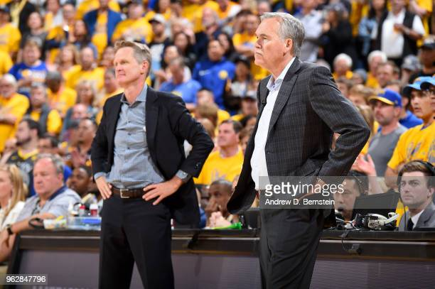 Head Coach Mike D'Antoni of the Houston Rockets looks on during the game against the Golden State Warriors during Game Six of the Western Conference...