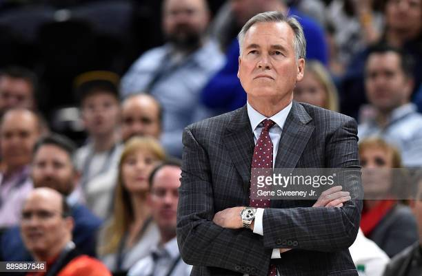 Head coach Mike D'Antoni of the Houston Rockets looks on from the sideline during their game against the Utah Jazz at Vivint Smart Home Arena on...