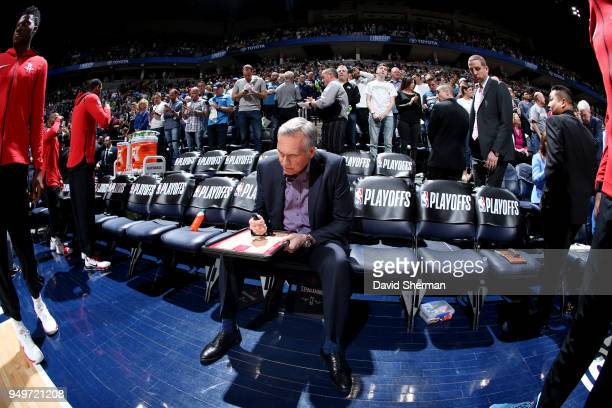 Head Coach Mike D'Antoni of the Houston Rockets looks on prior to Game Three of Round One of the 2018 NBA Playoffs against the Minnesota Timberwolves...