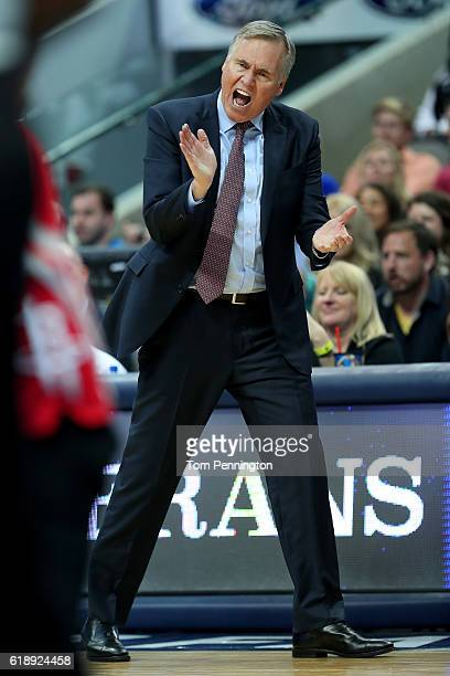 Head Coach Mike D'Antoni of the Houston Rockets reacts as the Houston Rockets take on the Dallas Mavericks in the second half at American Airlines...