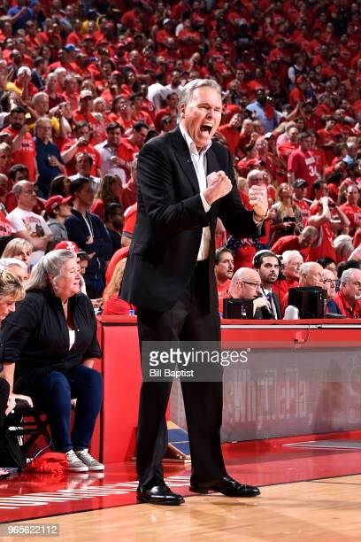 Head Coach Mike D'Antoni of the Houston Rockets reacts during the game against the Golden State Warriors in Game Seven of the Western Conference...