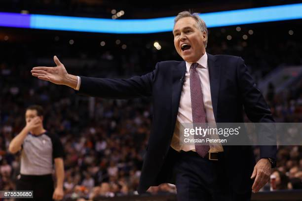 Head coach Mike D'Antoni of the Houston Rockets reacts during the first half of the NBA game against the Phoenix Suns at Talking Stick Resort Arena...