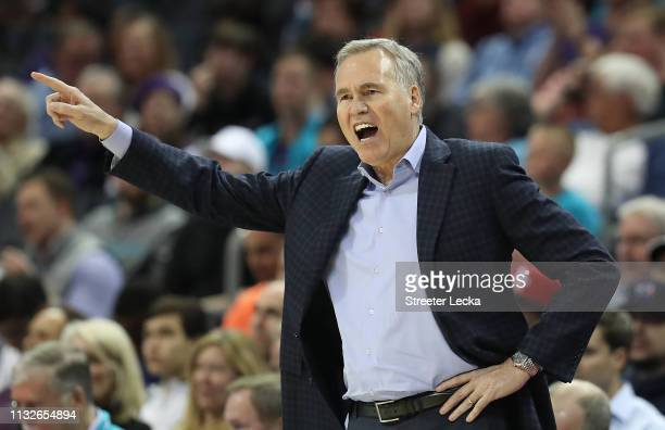 Head coach Mike D'Antoni of the Houston Rockets reacts during their game against the Charlotte Hornets at Spectrum Center on February 27 2019 in...