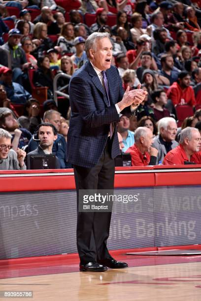 Head Coach Mike D'Antoni of the Houston Rockets shouts to team during the game against the Milwaukee Bucks on December 16 2017 at the Toyota Center...