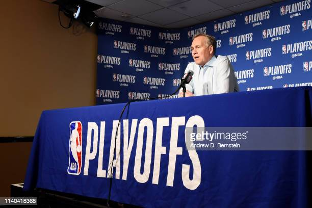 Head Coach Mike D'Antoni of the Houston Rockets speaks to the media prior to Game Two of the Western Conference SemiFinals of the 2019 NBA Playoffs...