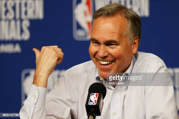 Head coach Mike D'Antoni of the Houston Rockets speaks to the media after their 92 to 101 loss to Golden State Warriors in Game Seven of the Western...