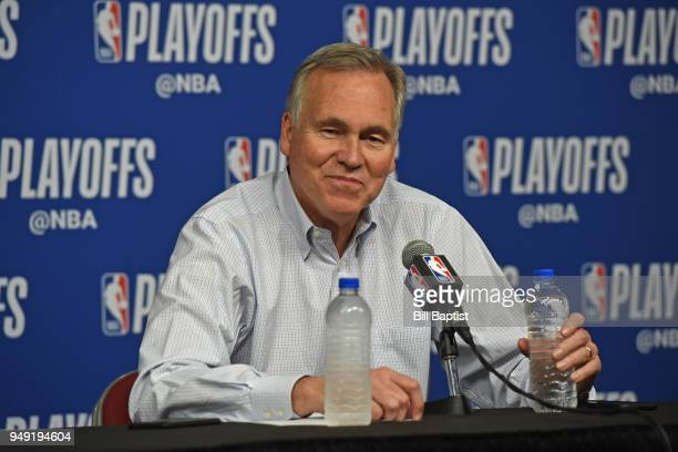 Head Coach Mike D'Antoni of the Houston Rockets speaks with the media after the game against the Minnesota Timberwolves during Game Two of Round One...