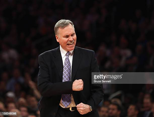 Head Coach Mike D'Antoni of the Los Angeles Lakers reacts to a poor play by his team against the New York Knicks at Madison Square Garden on December...