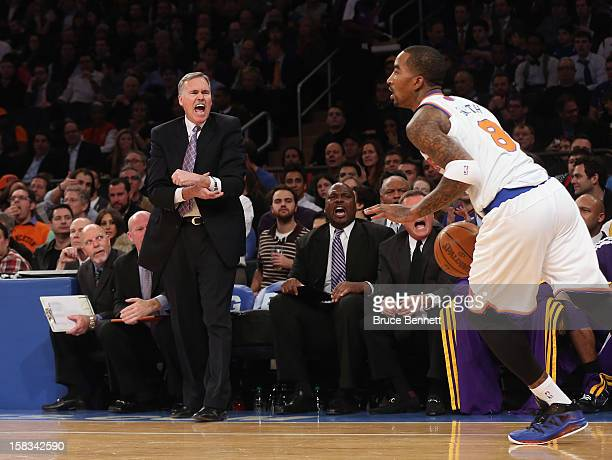 Head Coach Mike D'Antoni of the Los Angeles Lakers reacts to play against the New York Knicks at Madison Square Garden on December 13 2012 in New...