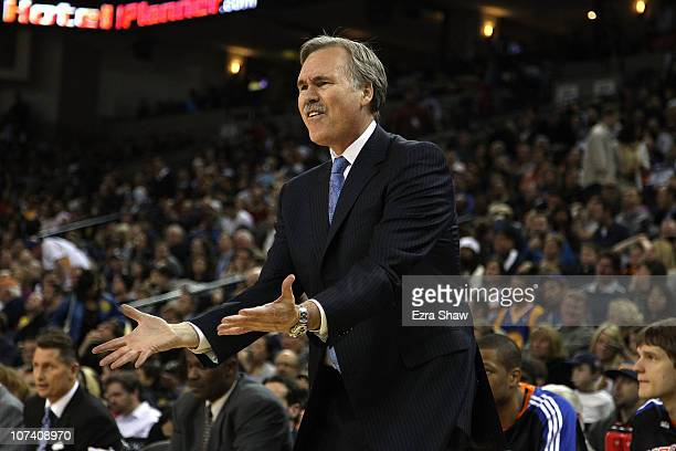 Head coach Mike D'Antoni of the New York Knicks on the sidelines of their game against the Golden State Warriors at Oracle Arena on November 19 2010...