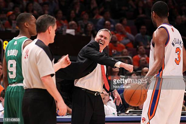 Head coach Mike D'Antoni of the New York Knicks reacts towards referee referee Mike Callahan against the Boston Celtics in Game Four of the Eastern...