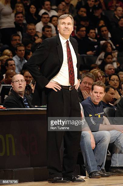 Head coach Mike D'Antoni of the New York Knicks stands on the sideline during the game against the Toronto Raptors on April 5 2009 at Air Canada...