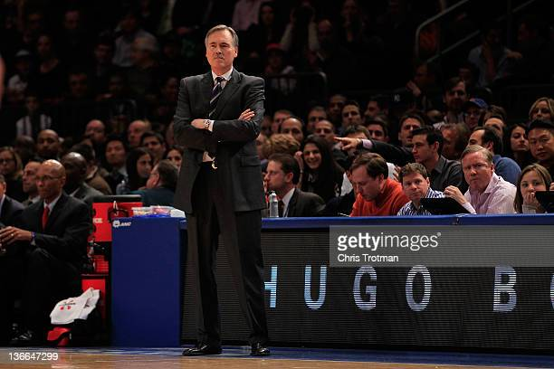 Head coach Mike D'Antoni of the New York Knicks watches his team play the Charlotte Bobcats at Madison Square Garden on January 9 2012 in New York...