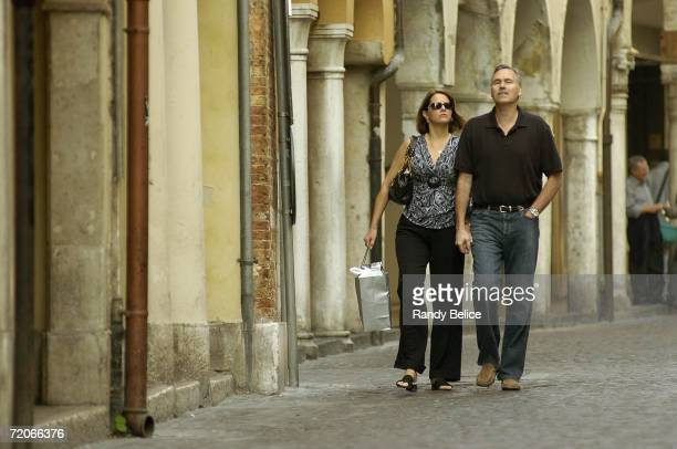 Head coach Mike D'Antoni of the Phoenix Suns and his wife Laurel take a walk prior to practice during the NBA Europe Live Tour on October 2 2006 in...